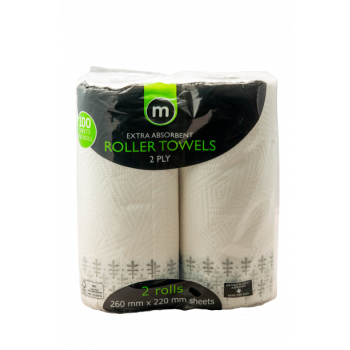 M ROLLER TOWELS 2PLY 2 ROLLS
